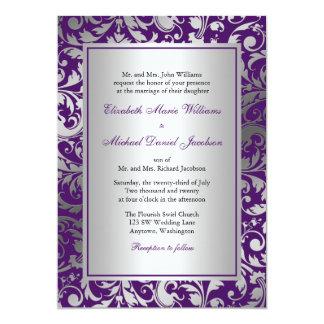 El damasco púrpura y de plata remolina boda invitación 12,7 x 17,8 cm