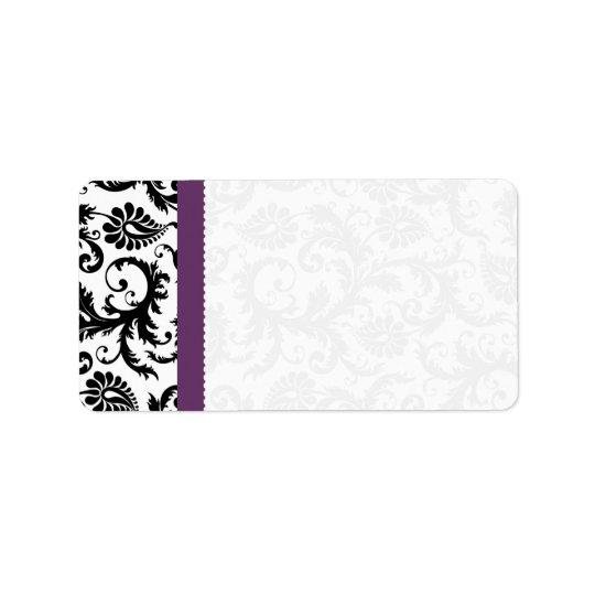 El damasco púrpura y negro puntea el envío etiqueta de dirección