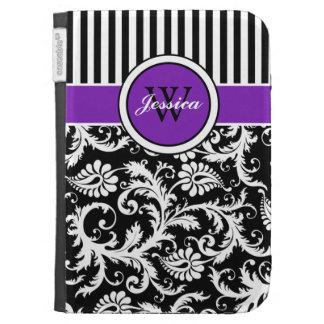 El damasco rayado blanco negro púrpura del monogra