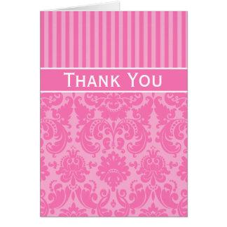 El damasco rayado rosado le agradece tarjeta de