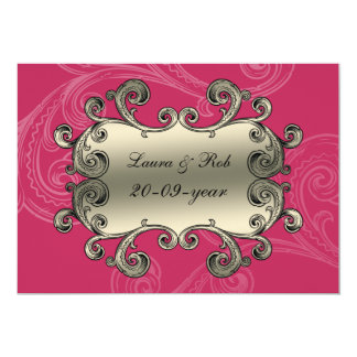 el damasco real del rosa del flourish le agradece invitación 12,7 x 17,8 cm