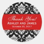El damasco rojo, negro del boda le agradece etique pegatina redonda