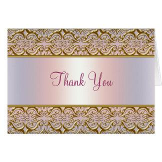 El damasco rosado púrpura del oro le agradece las tarjeta pequeña
