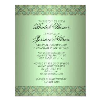 El damasco verde de lujo remolina invitación invitación 10,8 x 13,9 cm