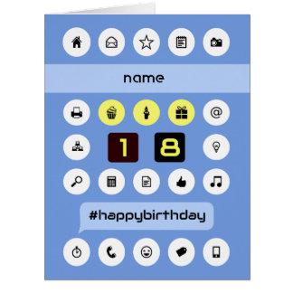 el décimo octavo cumpleaños personalizado añade la tarjeta de felicitación grande