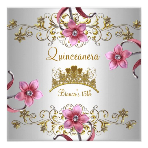 El décimo quinto rosa blanco de Quinceanera florec Invitación Personalizada