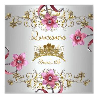 El décimo quinto rosa blanco de Quinceanera Invitación Personalizada