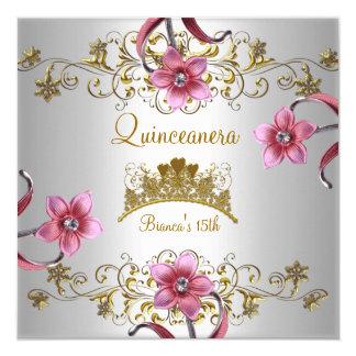 El décimo quinto rosa blanco de Quinceanera Invitación 13,3 Cm X 13,3cm