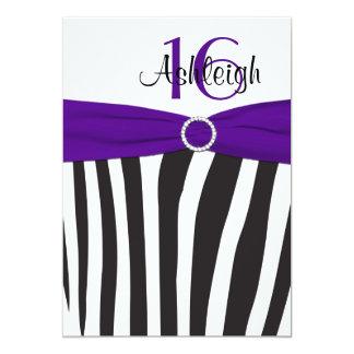 El décimosexto cumpleaños de la cebra púrpura, invitación 12,7 x 17,8 cm