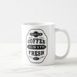 El decir de la etiqueta del café de la tipografía taza básica blanca