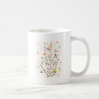 El dedo esquelético jura divertido taza de café