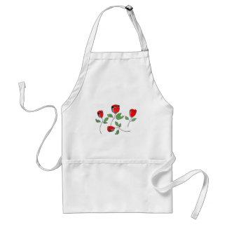 El delantal del cocinero con los rosas