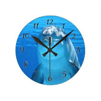 El delfín de Bottlenose mira la cámara debajo del Reloj Redondo Mediano
