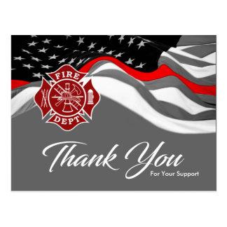 El departamento del bombero/del fuego le agradece postal