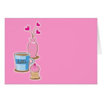 El descanso para tomar café lindo con el latte tarjeta de felicitación