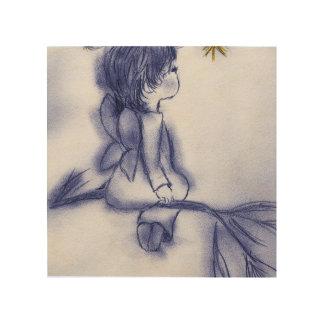 el desear azul del ángel del tinte impresión en madera
