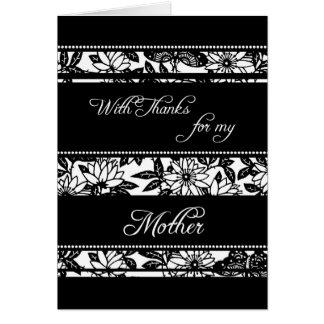El día de boda floral negro de la mamá le agradece tarjeta de felicitación