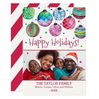 El día de fiesta adorna la foto del navidad invitación 12,7 x 17,8 cm