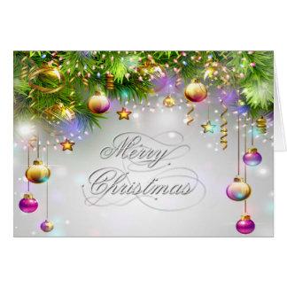 El día de fiesta del navidad adorna colores multi tarjeta de felicitación