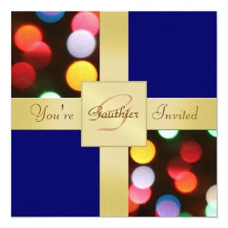 El día de fiesta enciende la actual invitación del invitación 13,3 cm x 13,3cm