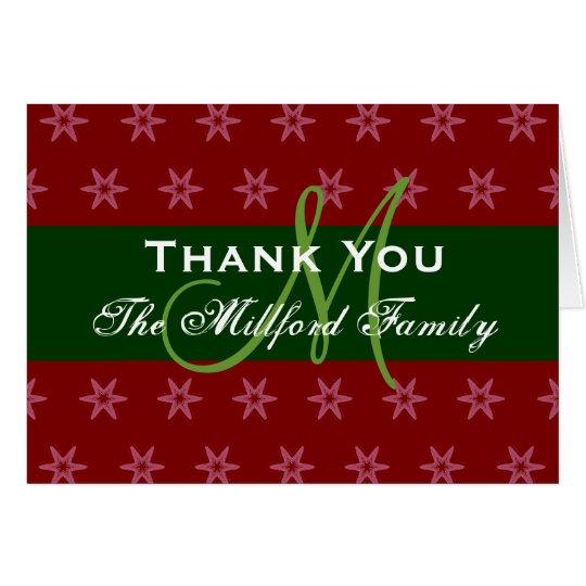 El día de fiesta le agradece el monograma verde tarjeta de felicitación