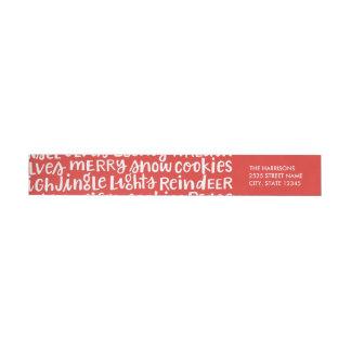El día de fiesta puesto letras mano redacta etiquetas postales