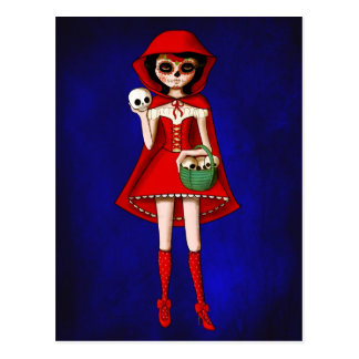 El día de la capa con capucha roja muerta postal