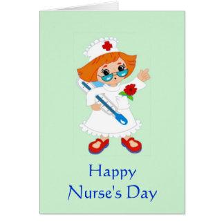 El día de la enfermera feliz con la enfermera en u felicitaciones