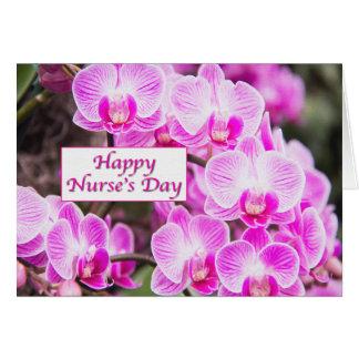 El día de la enfermera feliz con las orquídeas púr tarjeta de felicitación