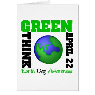 El Día de la Tierra piensa verde Tarjeta De Felicitación