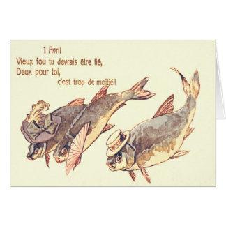 El día de los inocentes de la familia de pescados tarjeta de felicitación