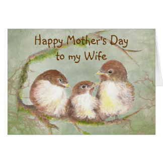 El día de madre a la familia de pájaro linda del g felicitacion