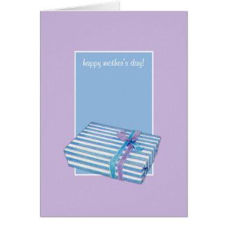 El día de madre azul de la lila del regalo rayado  tarjeta