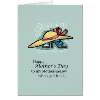 El día de madre de las sandalias del gorra de la tarjeta de felicitación