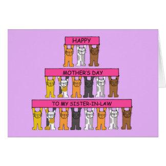 El día de madre feliz a mi cuñada tarjeta de felicitación
