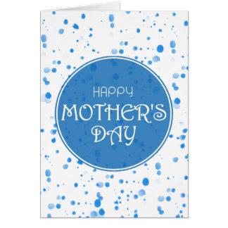 El día de madre feliz azul dispersada de los tarjeta de felicitación