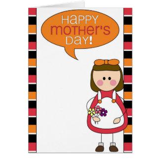 el día de madre feliz (chica) tarjeta de felicitación