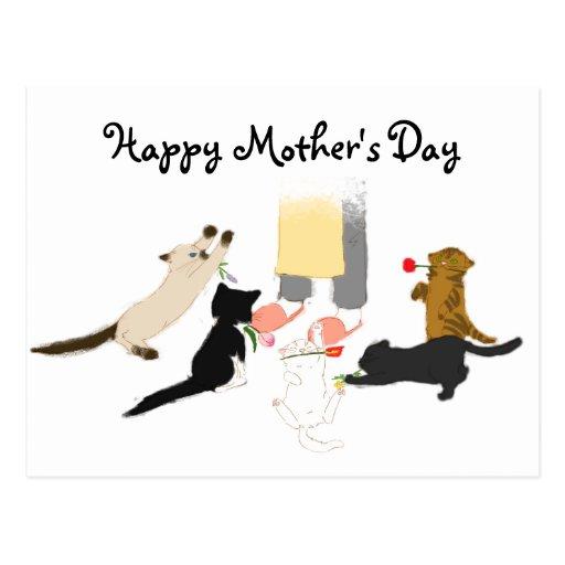 El día de madre feliz con el gatito postal