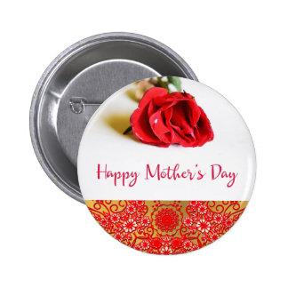 El día de madre feliz con un solo rosa rojo chapa redonda de 5 cm