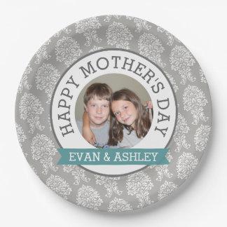 El día de madre feliz - damasco de encargo de la plato de papel