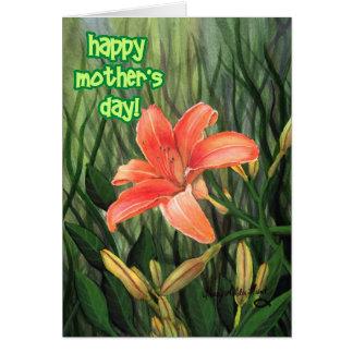 El día de madre feliz - Daylilly 2 Tarjeta De Felicitación