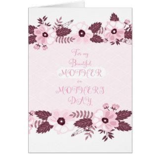 El día de madre feliz de la madre hermosa tarjeta de felicitación