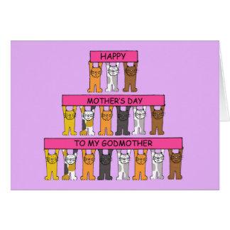 El día de madre feliz de la madrina, gatos tarjeta de felicitación