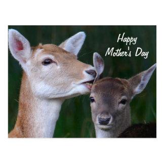 El día de madre feliz - gama y cervatillo postal