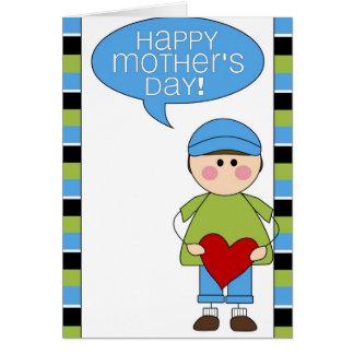 el día de madre feliz (muchacho) tarjeta de felicitación