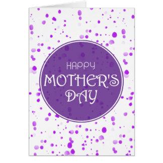El día de madre feliz púrpura dispersada de los tarjeta de felicitación