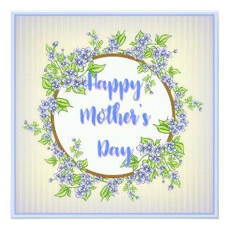 El día de madre floral azul invitación 13,3 cm x 13,3cm