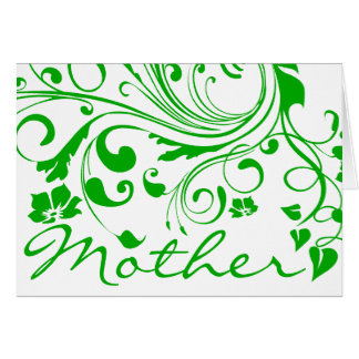 El día de madre floral verde de los remolinos tarjeta de felicitación