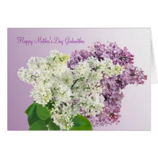 El día de madre. Madrina. La lila florece la tarje Tarjeta De Felicitación
