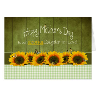 El día de madre - nuera - girasoles tarjeta de felicitación